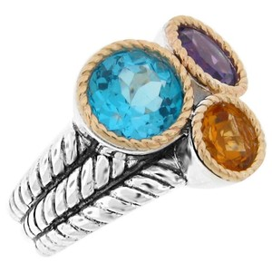 Meredith Leigh Meredith Leigh 14k Gold 925 St Silver Multi-Gemstone Rope Ring