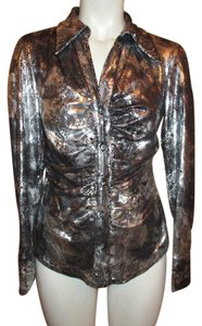 Joseph Ribkoff Metallic Snakeskin Button Down Top silver, grey & black