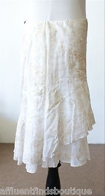 Ralph Lauren Black Label Gold Print Linen Ruffle Skirt Whites