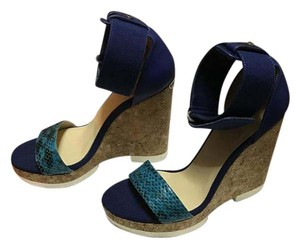 Jimmy Choo Turquoise/Violet Gloss Wedges