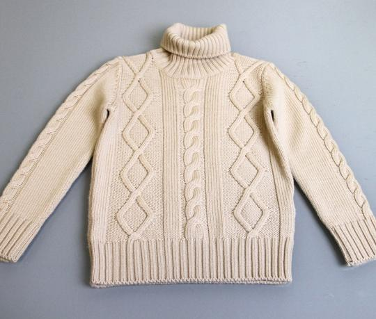 Gucci Beige W Kids Unisex Wool Turtle Neck Sweater Knitwear Top W/Web 5 270705 Groomsman Gift Image 1