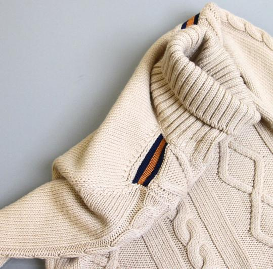 Gucci Beige W Kids Unisex Wool Turtle Neck Sweater Knitwear Top W/Web 5 270705 Groomsman Gift Image 2