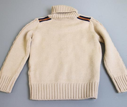 Gucci Beige W Kids Unisex Wool Turtle Neck Sweater Knitwear Top W/Web 5 270705 Groomsman Gift Image 3