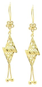 18KT Gold Filled Floral Abstract Triangle Drop Earrings