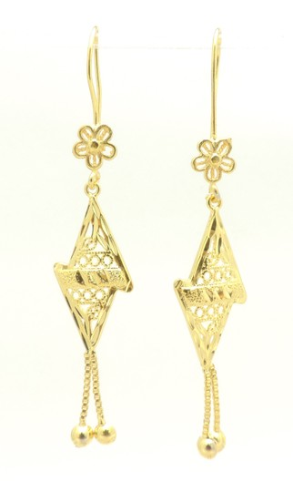 Other 18KT Gold Filled Floral Abstract Triangle Drop Earrings Image 4