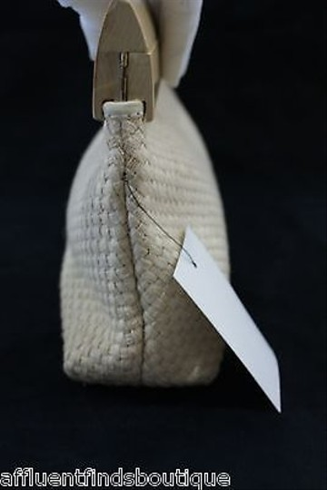 De Vecchi De Beigenatural Wood And Woven Cotton Beiges Clutch