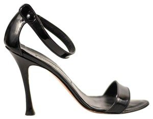 Manolo Blahnik Patent Leather Strappy Heels Black Pumps