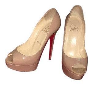 Christian Louboutin Patent Leather Nude Platforms