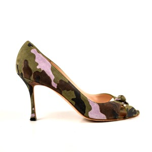 Manolo Blahnik Camo Green Purple Suede Multi Pumps