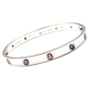 Cartier Cartier Love Bracelet White Gold with Colored Stones Size 17