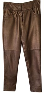 Cache Lamb Leather Straight Pants Copper brown