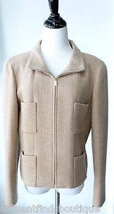Chanel 00a Camel Cashmere Tweed Tan Jacket