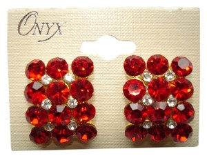 Onyx Nite Onyx Red Rhinestone Zircon Earrings