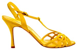 Manolo Blahnik Suede Leather Strappy Yellow Pumps