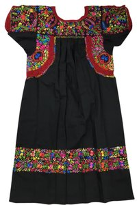 Mexcian Artisans short dress Black/Multi Oaxaca Embroidered Unique on Tradesy