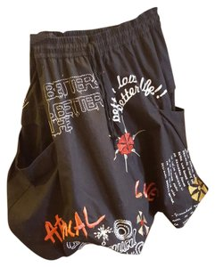 Desigual Dolce Gabbana Gucci Skirt Black with coral and white