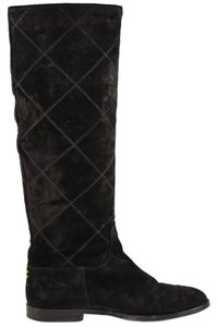 Chanel Suede Tall Knee High Quilted Black Boots