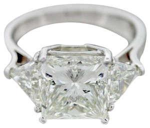 Platinum 6.52ctw Princess & Trillion Cut Diamond Engagement Ring GIA