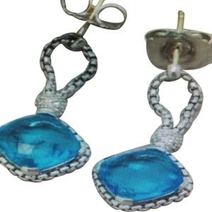 David Yurman David Yurman Sterling Silver Diamond Cushion Blue Topaz Earrings