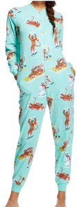 Nick & Nora Nick & Nora Sock Monkey Fleece One Piece Zip Front Pajamas Sz L