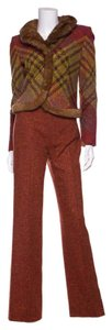 Valentino Valentino Red & Brown Tweed 2 PC Pant Suit