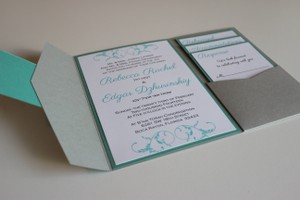 Gray and Teal Pocket Invitations