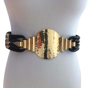 Tory Burch Adora Hammered Gold Black Leather Waist Belt