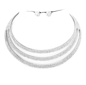 Rhinestone crystal Choker necklace Rhinestones and Crystal Choker Collar Statement necklace and Earrings