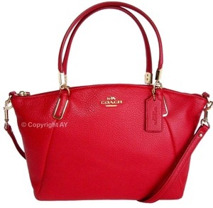 Coach Kelsey Leather Crossbody Strap Satchel in Classic Red
