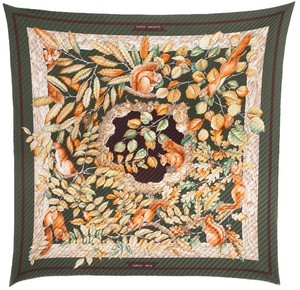 Hermès Hermes Forest Green And Orange Casse Noisette Motif Plisse Scarf