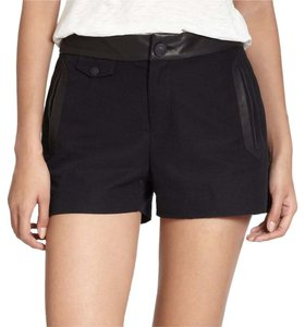Rag & Bone Leather Edgy Designer Dress Shorts Black