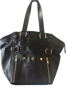 Saint Laurent Leather Leather Like New Tote in Gunmetal Grey