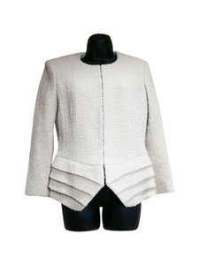 Dior Christian Jacket Boucle Ruffle Jacket Cream Beige Blazer