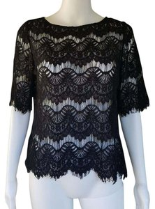 The Limited Lace Semi Sheer Top Black