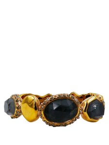 Alexis Bittar Alexis Bittar Gold Tone with Grey Crystals Cuff Bracelet