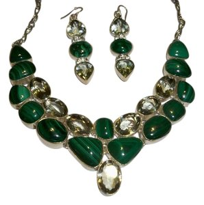 Silver Co. Malachite, Green Amethyst and .925 Sterling Silver Set