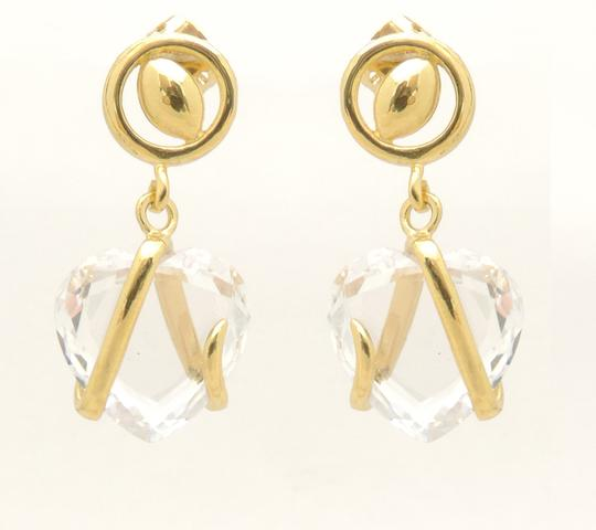 Other 18KT Gold Filled Cubic Zirconia Trapped Heart Dangle Earrings Image 1