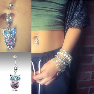 BYJQ Owl Navel Ring Belly Ring