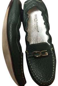 Dolce&Gabbana Leather Driving Loafer Scrunch Loafer Dark Green Flats