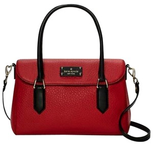 Kate Spade Leather Satchel in Dynasty Red/Black