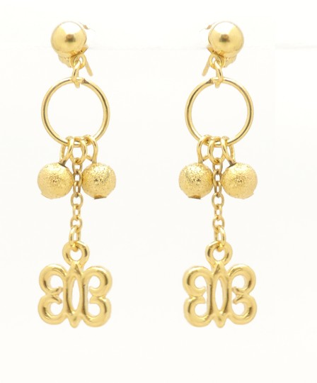 Other 18KT Gold Filled Stardust Bead Butterfly Drop Earrings Image 2