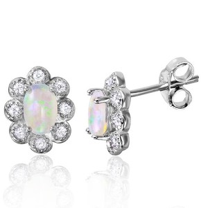BYJQ Sterling Silver Rhodium Plated Flower Opal