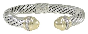 David Yurman David Yurman Sterling Silver 18K Gold 10mm Diamond Bracelet