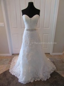 Ella Rosa Ivory Lace Be350 By Kenneth Winston Traditional Wedding Dress Size 14 (L)