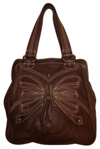 Gap Premier 1969 Rare Leather Contrast Stitching Butterfly Tote in brown