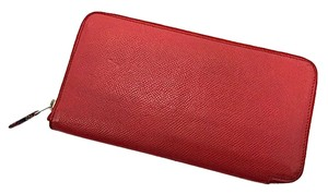 Hermès Hermes Rouge Casaque Epsom Silk in Azap Long Wallet Stamp P