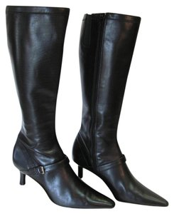 AK Anne Klein New Size 6.50 M Leaaher Excellent Condition Black Boots