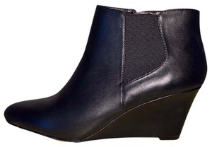 Nine West Wedge Boot Bootie Black Leather Boots