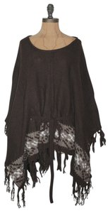 Anthropologie Fringe Patterned Poncho Cape