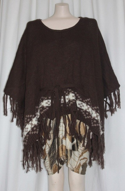 Willow & Clay Fringe Patterned Anthropologie Cape Image 1